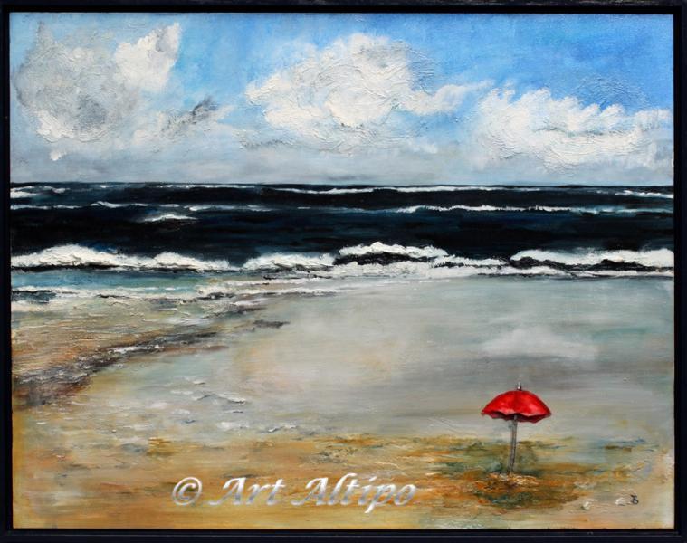 Beach umbrella gemengde techniek en materiaal